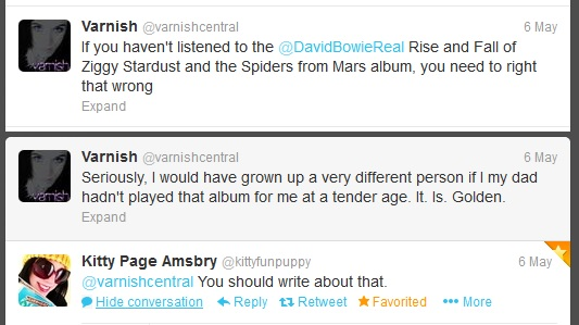 Twitter conversation where I mention that Ziggy Stardust album was huge influence and friend suggests I blog about it.