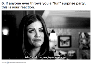 Introverts hate surprise parties