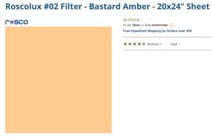 "Lighting gel called ""Bastard Amber"""