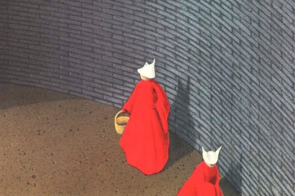 Drawing of two women in loose red cloaks and white head coverings