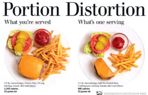 side-by-side image of what is normally served us (whole burger and chips) vs actual healthy portion size (half burger and half as much chips)