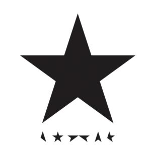 Album cover of David Bowie's Black Star: White background, a large black star, and a row of pieces of the black star below