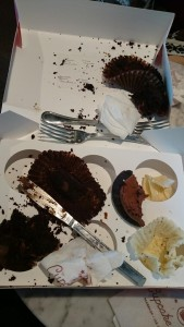 The mess after we'd eaten what we could of the cupcakes