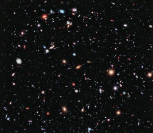 Portion of Hubble Extreme Deep Field.  Every spot and smudge in this image is a galaxy.  Credit: NASA, ESA