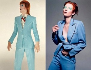 David Bowie (then) and Tilda Swinton (now), with matching adrogynous looks