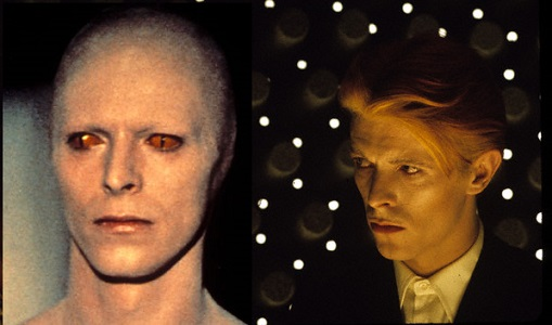 Bowie in human and alien forms