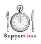 "Fork and knife beside a stopwatch (like it's a plate) with the text ""Supper time"" beneath"