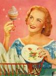 Happy housewife with a lemony fresh cupcake