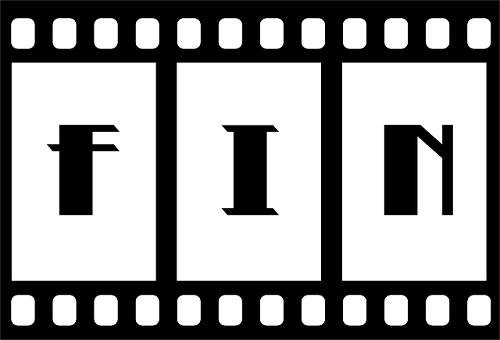 "Film strip with ""fin"" written on it"
