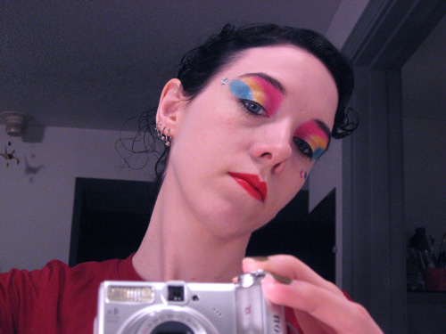 Bright eye shadow and loads of it