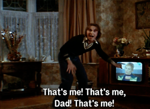 "Screencap from Velvet Goldmine. Arthur points at TV and shouts, ""That's me! That's me, Dad! That's me!"""