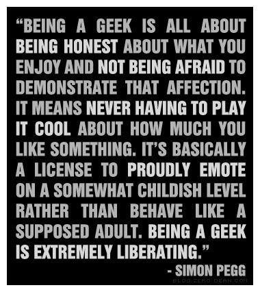 Simon Pegg talks about the joy of being a geek