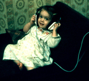 Wee me with headphones
