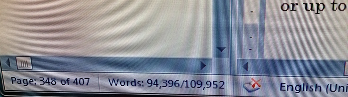 My computer screen, showing the word count of a document at almost 110,000 words
