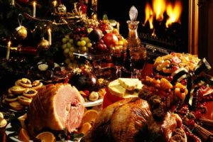 A table heaped with every imaginable holiday dinner food