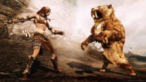 Screencap from Skyrim of a woman fighting a sabre-toothed tiger