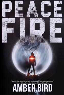 Peace Fire cover: a silhouette with a red flare in the middle, in front of and a large, round, metallic shape