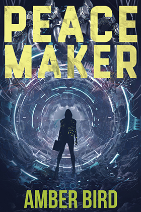 Peace Maker cover: a silhouette wearing a hoodie and boots, carrying a boxy container in her left hand, stands in front of a mechanical tunnel segmented by rings of blue-ish light